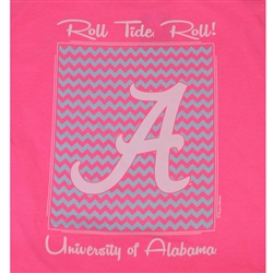 Alabama Crimson Tide Football T-Shirts - Chevron Pattern Around Script A - Color Neon Pink