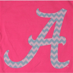 Alabama Crimson Tide Football T-Shirts - Chevron Pattern Inside Script A - Color Neon Pink