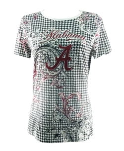 Alabama Crimson Tide Shirt - P.Michael Houndstooth Shirt With Script A and Alabama
